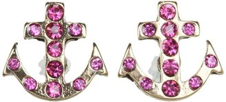 Betsey Johnson Ivy League Anchor Crystal Stud Earrings (Fuchsia/Antique Gold) - Jewelry