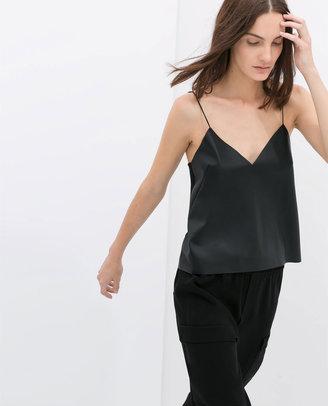 Zara Top With Faux Leather Front