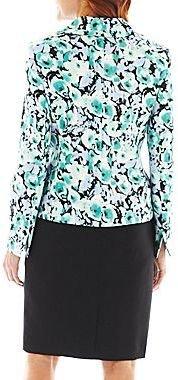 Le Suit Lesuit Floral Jacket Skirt Suit