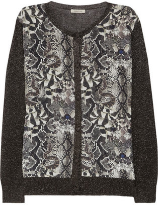 Emma Cook Silk-paneled metallic fine-knit cardigan