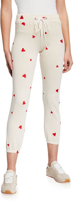 Monrow Allover Embroidered Heart Vintage Sweatpants