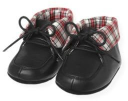 Janie and Jack Plaid Cuffed Leather Crib Bootie