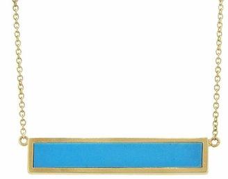 Jennifer Meyer Turquoise Inlay Bar Necklace - Yellow Gold