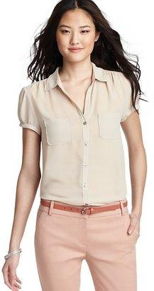 LOFT Short Sleeve Button Down Blouse
