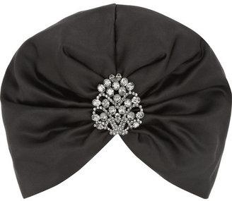 Jennifer Behr Swarovski crystal-embellished silk-satin turban