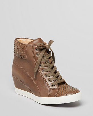Splendid Lace Up High Top Wedge Sneakers - Helsinki Studded