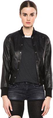 R 13 Raglan Varsity Morimoto Lambskin Jacket in Black