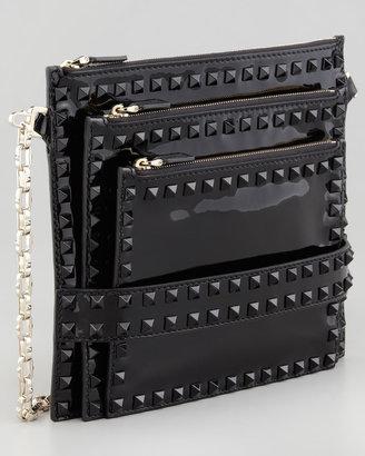 Valentino Rockstud Triple-Zip Patent Crossbody Bag, Black