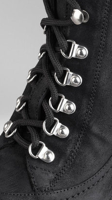 Burberry Shearling Suede Ankle Boots