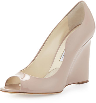 Brian Atwood Scalloped Patent Peep-Toe Wedge