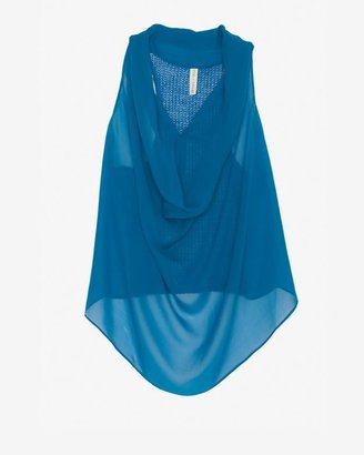 Maggie Ward Exclusive Sheer Chiffon Cowl Tank: Blue