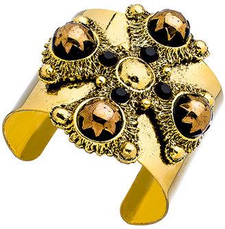Yochi Gold Cross Ornament Cuff Bracelet
