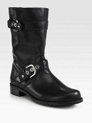Stuart Weitzman Leather Buckle Motorcycle Boots