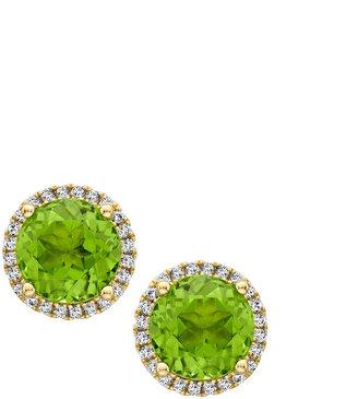 Kiki McDonough Grace Green Peridot & Diamond Stud Earrings