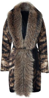 Roberto Cavalli Bronze/Black/White Fur Trimmed Knit Coat
