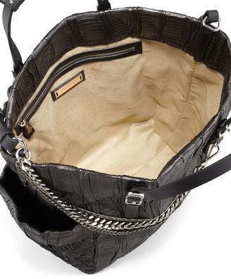 Jimmy Choo Blare Snakeskin Tote Bag, Black