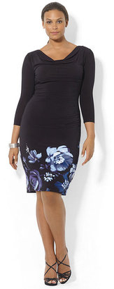 Lauren Ralph Lauren Plus Size Long-Sleeve Floral-Print-Border Dress