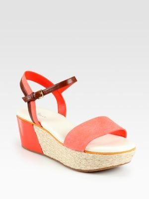 Cole Haan Arden Suede & Leather Espadrille Wedge Sandals