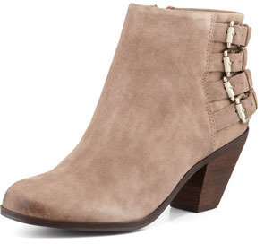 Sam Edelman Lucca Buckle-Back Suede Bootie, Beach