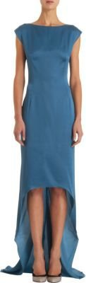 Lanvin Cap-Sleeve High-Low Gown