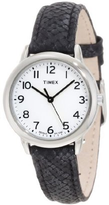 Timex Women's T2N964 Elevated Classics Black Python Patterned Strap Watch $47.95 thestylecure.com