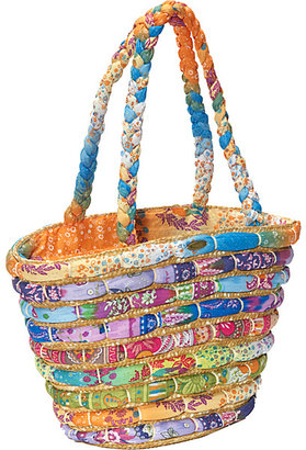 Capelli of New York Straw Tote With Bright Printed Fabrics