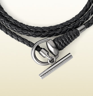 Gucci Leather Wrap Bracelet With Horsebit Toggle Closure