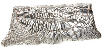 Lauren Merkin Eve Mirror Croc-Embossed Clutch