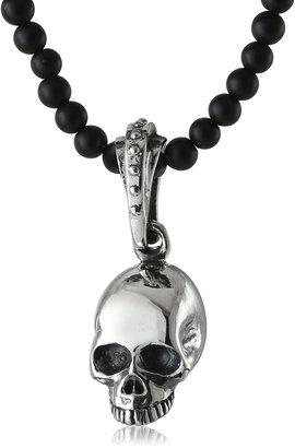 King Baby Studio Hamlet Skull on Onyx Beaded Necklace