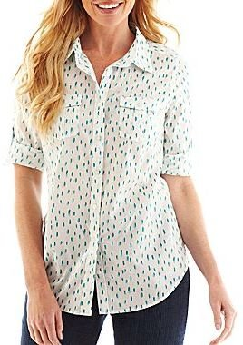 JCPenney St. John's Bay® Rolled-Sleeve Camp Shirt