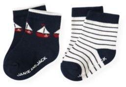 Janie and Jack Sailboat Stripe Sock Two-Pack