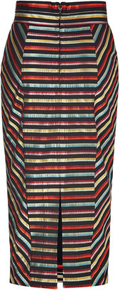 L'Wren Scott LWren Scott Black-Multi Striped High Waisted Pencil Skirt