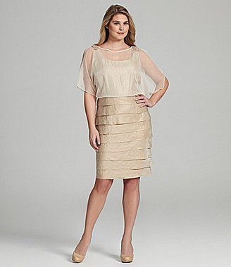 London Times Woman Shimmer Shutter Dress