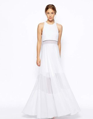 Asos Full Maxi Dress With Sheer And Solid Panels