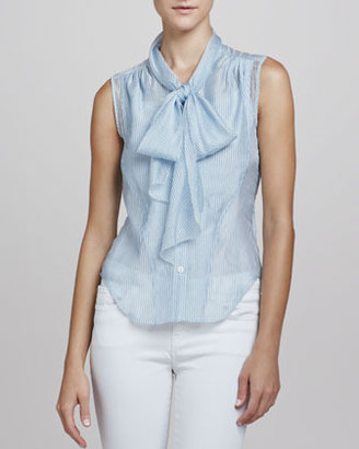 Z Spoke Zac Posen Printed Tie-Neck Blouse, Seersucker