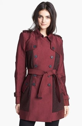 Sam Edelman Double Breasted Wool Inset Trench Coat (Online Only)