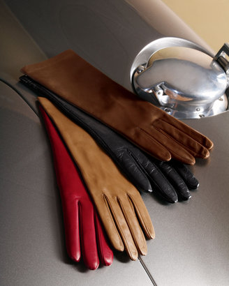 Portolano Four-Button Silk-Lined Classic Gloves, Winter Dune/Red