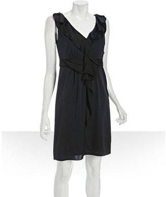 Elie Tahari spring navy stretch georgette 'Patrice' ruffle trim dress