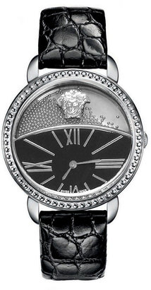 Versace Dual-Dial Leather-Strap Watch, Black