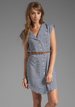 BB Dakota Adrienne Stripe Dress w. Belt in Navy/White