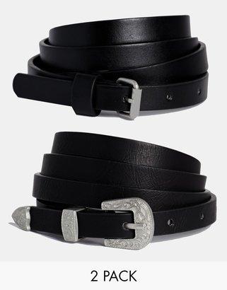 Asos 2 Pack Western Tip Hip And Waist Belt