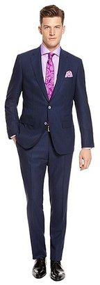 HUGO BOSS T-Hixon/Grey Slim Fit, Italian Virgin Wool Pinstriped Suit - Navy