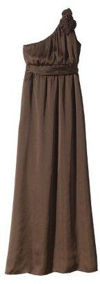 Women's Satin OneShoulder Rosette Maxi Bridesmaid Dress Neutral Colors - TEVOLIO