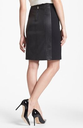 Nanette Lepore 'Mime' Leather & Knit Skirt