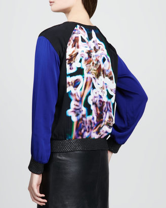 Milly Printed-Panel Colorblock Sweatshirt
