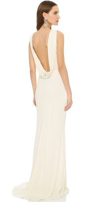 Badgley Mischka Collection Cowl Back Gown