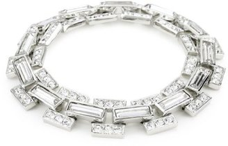 "Carolee Classic Love Story"" Silver-Tone Crystal Link Flex Bracelet"