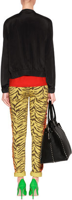 Current/Elliott Rasta Yellow Zebra Print Fringed Skinny Jeans