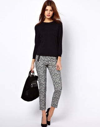 Warehouse Jacquard Pant With Zips