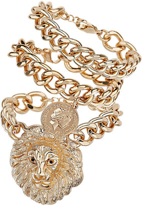 Topshop Lion And Coin Chain Bracelet